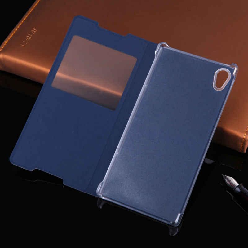 Чехол-раскладушка кожаный чехол для телефона для Sony Xperia Z3 плюс Z4 Z3 + Z 4 3 E6553 Z3plus задняя крышка 5,2 дюймов ударостойкая с ясным окном Funda
