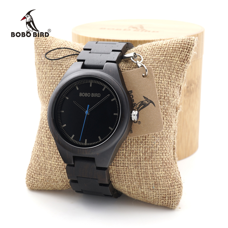 BOBO BIRD Ebony Wooden watches Quartz Men's Dress Wristwatch Analog Japanese Movement clock With Wood links In Bamboo Box