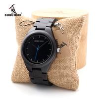 BOBO BIRD Ebony Wooden watches Quartz Men's Dress Wristwatch Analog Japanese Movement clock With Wood links In Bamboo Box