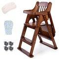 Младенческая дети едят стул твердой древесины многофункциональный регулируемый портативный складной дети едят стул стол