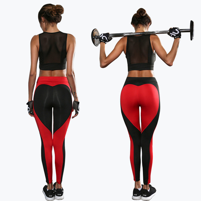 Heart Pattern Mesh Splice Legging Fitness Workout Breathable Clothing Sportswear Elastic Sporting Leggings Women Pants