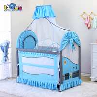 3 in 1 Baby Bed Height and Length Adjustable Mosquito Net Baby Bassinet included Baby Crib Detachable and Washable Bed Covers