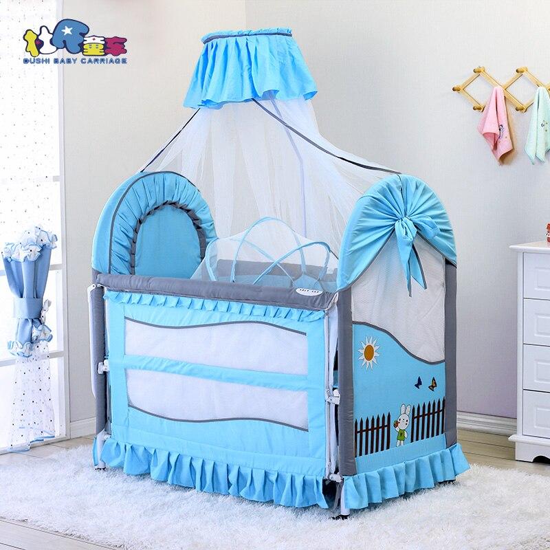 Lit bébé 3 en 1 hauteur et longueur moustiquaire réglable couffin bébé inclus lit bébé housses de lit détachables et lavables