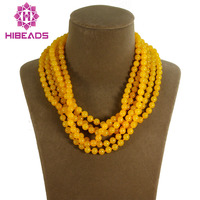 Trendy Gorgeous 6 Rows Yellow/Gold Round Beads Costume Jewelry Necklace Yellow Nigerian Jewelry Free Shipping ABL670