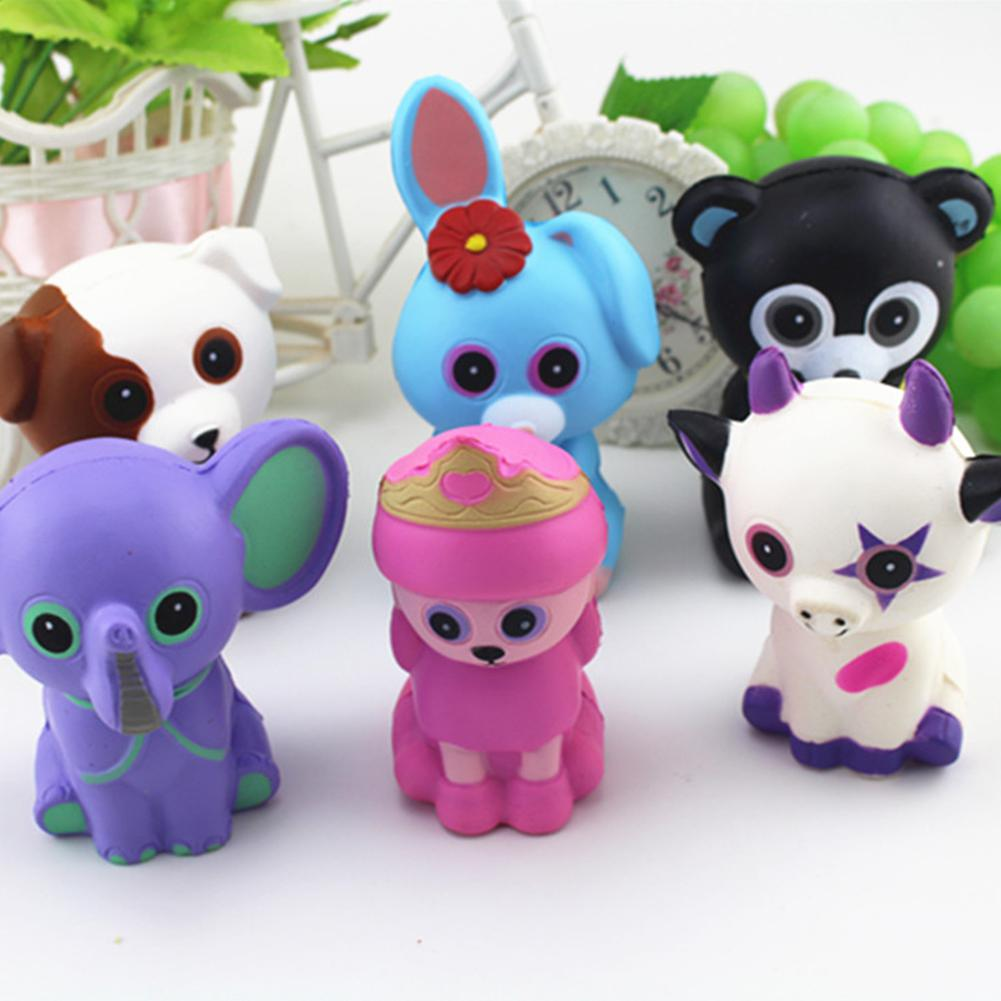 Simulate PU Cartoon Animal Slow Rising Squishy Squeeze Toy Stress Reliever Toy Gift - 6Pcs/Set