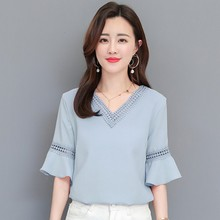 2019 Women's Clear New V-neck Shirt Short Butterfly Sleeve Ruffle Casual Fashion Cutout Chiffon Blouse ruffle trim tied neck blouse
