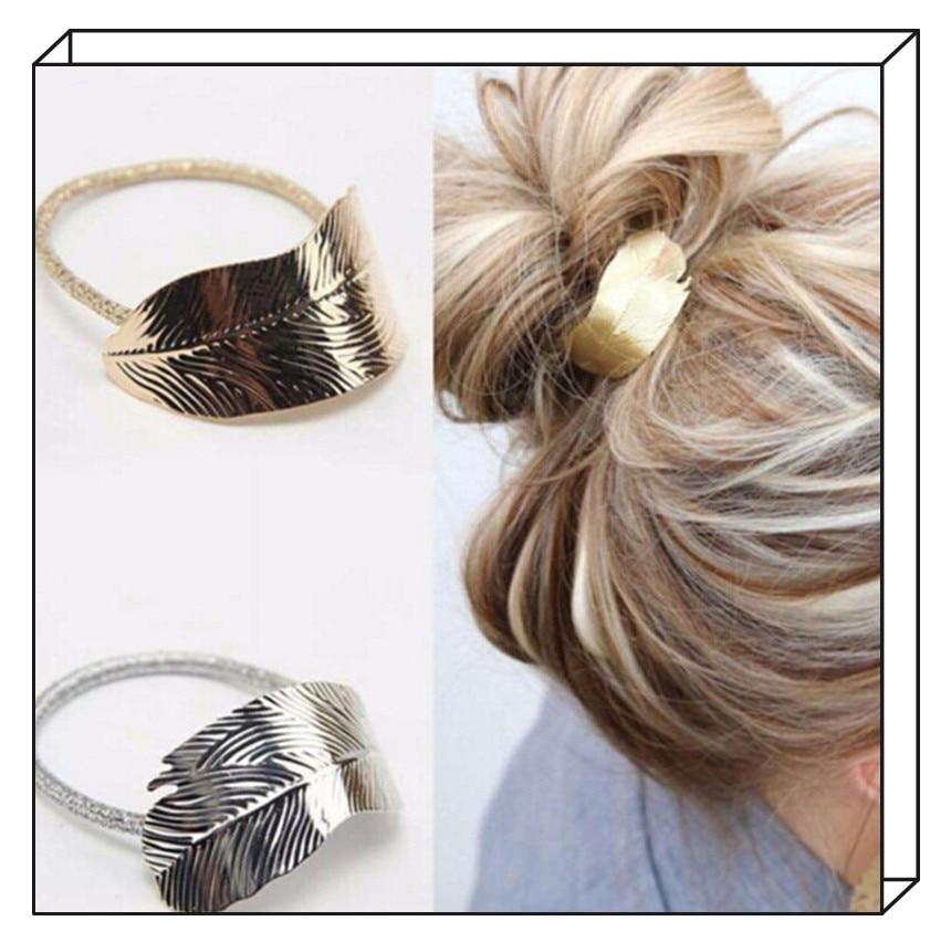 Girls Tree Leaf Shape Metallic Hair Rope Women Elastic Rubber Hair Band Headdress Rope Women Hair Accessories Hair Styling Tool