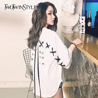 TWOTWINSTYLE Draw String T Shirt Female Hollow Out Patchwork Half Sleeve T Shirts Womens 2018 Summer