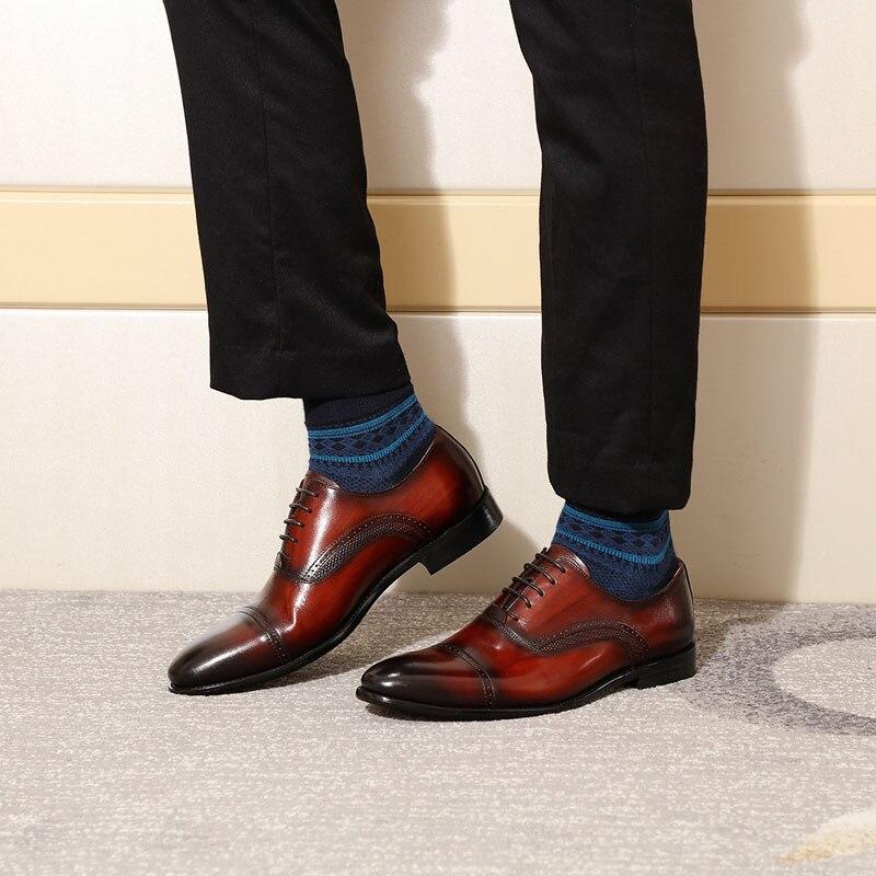Formal Sapatos Sapatas Dos Designer Italiano De vinho Homens Vestido wine Vermelho Red Luxo Preto Cap Estilo Genuíno 2019 Toe Couro Oxford Black AwqApxUE