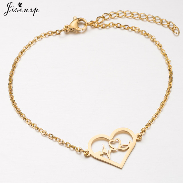 Medical Alert ID Bracelet ECG Heartbeat Bracelet Stainless Steel Chain Bangle 1
