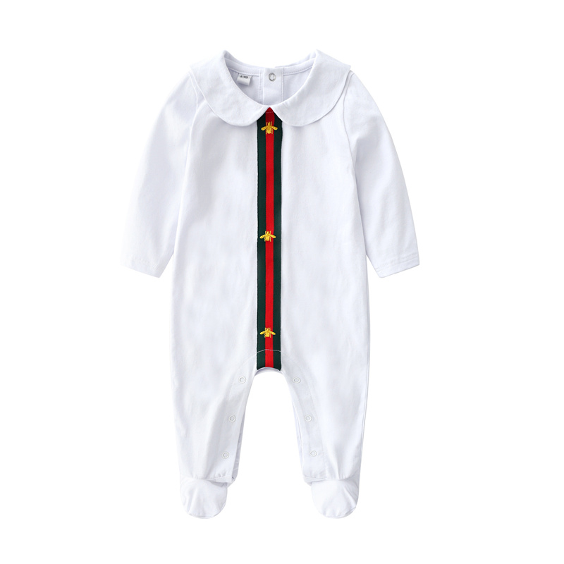 New Autumn Spring Baby Boys Girls White Long Sleeve Bee Romper for Newborn Baby Jumpsuit boy girls infant clothing Rompers new baby boy s tattoo printed long sleeve patchwork cotton romper spring autumn newborn jumpsuit bebe toddler stitch costume