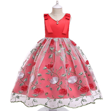 Купить с кэшбэком 2019 Children Princess Birthday Party Dress For Girls Children Flower Elegant Bridesmaid Dress For Baby Girl Clothes