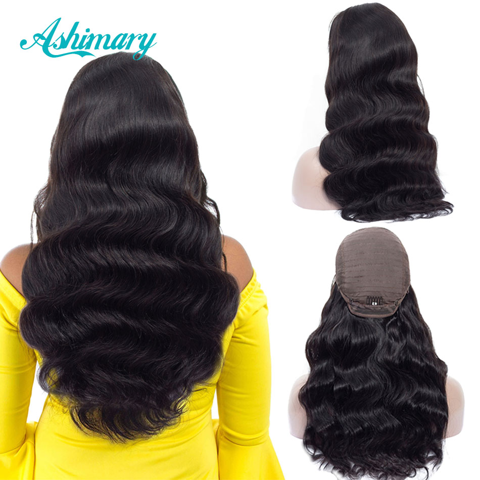 Ashimary Wig Human-Hair-Wigs Lace-Frontal Body-Wave Pre-Plucked Malaysian with Remy