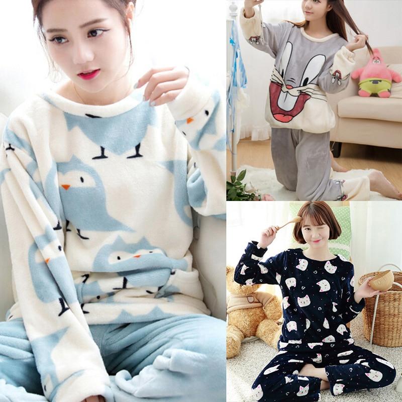 1 Satz Herbst Winter Damen Pyjama Set Schlaf Jacke Pant Sleepwear Warme Nachthemd Weibliche Cartoon Bär Tier Hosen Nachtwäsche Kaufe Eins, Bekomme Eins Gratis