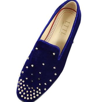 Designer Mocassin Fashion Royal Blue Shoe Gold Spike Rivets Slip On Crystal Flats Men Shoe 100 Gorgeous Prom Shoes Loafer Summer