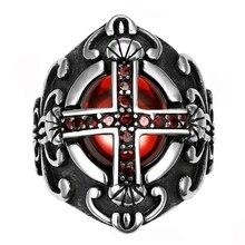 Stainless Steel Red Cross Biker Ring