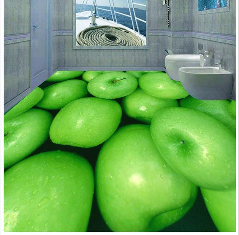 Green fruit 3D wallpaper 3d floor murals PVC Photo floor wallpaper 3d stereoscopic Waterproof floor mural painting