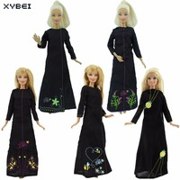 Strapless Pure Black Dress With Beads Princess Gown Handmade DIY Clothes For Barbie Doll FR Doll