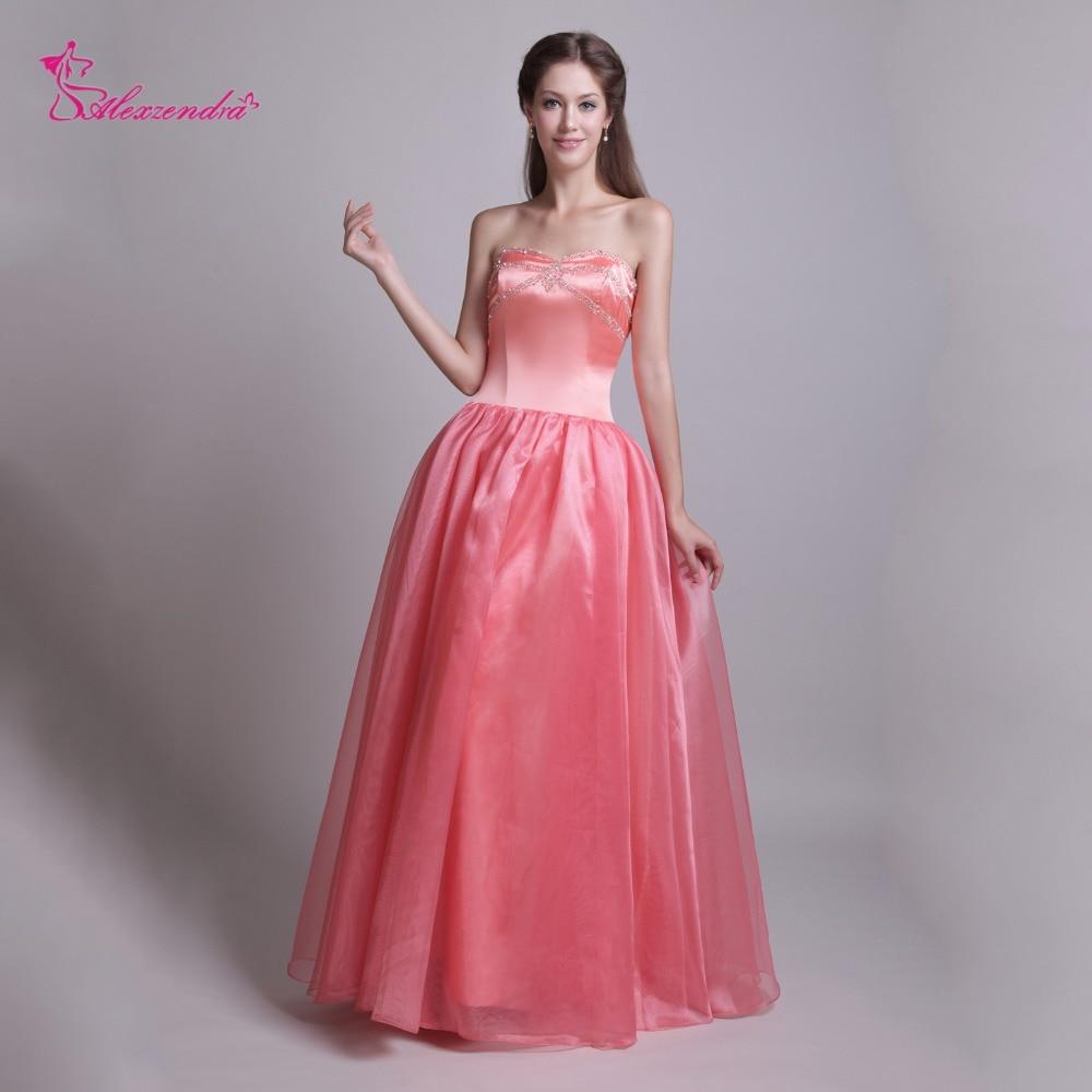 Alexzendra pêche Organza une ligne longues robes de bal perles robe de soirée élégante sur mesure grande taille