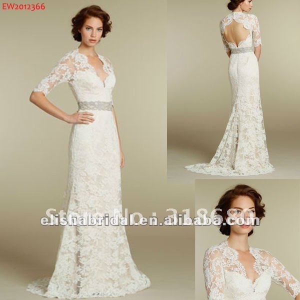 2012 Sweetheart Short Sleeves Sexy Open Back Lace Wedding Dresses In