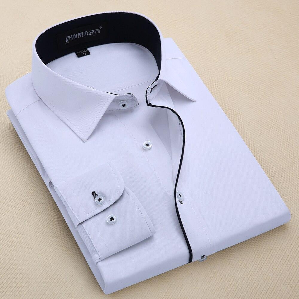 2017 New Design Twill Long Sleeve Shirts Cotton Solid Color Business Formal Dress Shirts Men Fashion Social Shirts