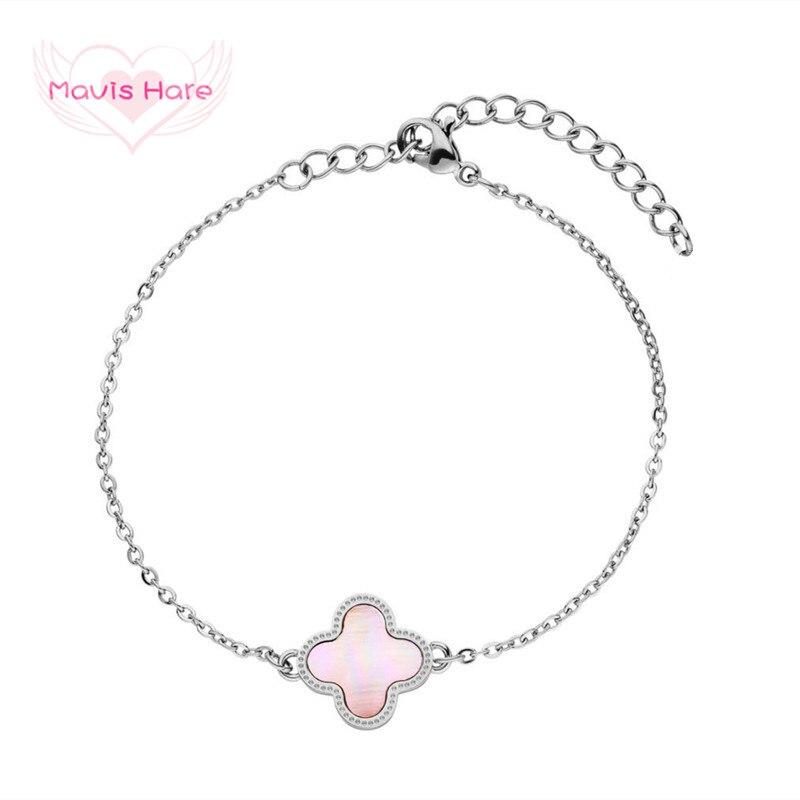 Mavis Hare Edelstahl Rosa Muschel Blume Armband Schönen Klee Blume Kette Armband für Weihnachten/Mutter Tag Geschenk