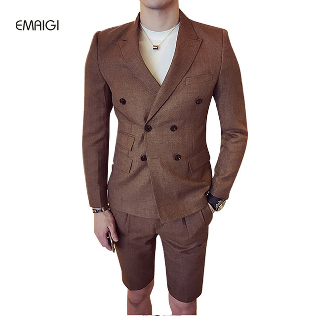 New Spring Summer Men Suits (jacket+shorts) Double Breasted Fashion Casual Slim Fit Male Blazer Groom Wedding Dress Suit