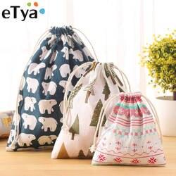 ETya Модные Портативный шнурок сумки обувь для девочек для женщин хлопок дорожный мешок для хранения Одежда Сумки Высокое качество Макияж