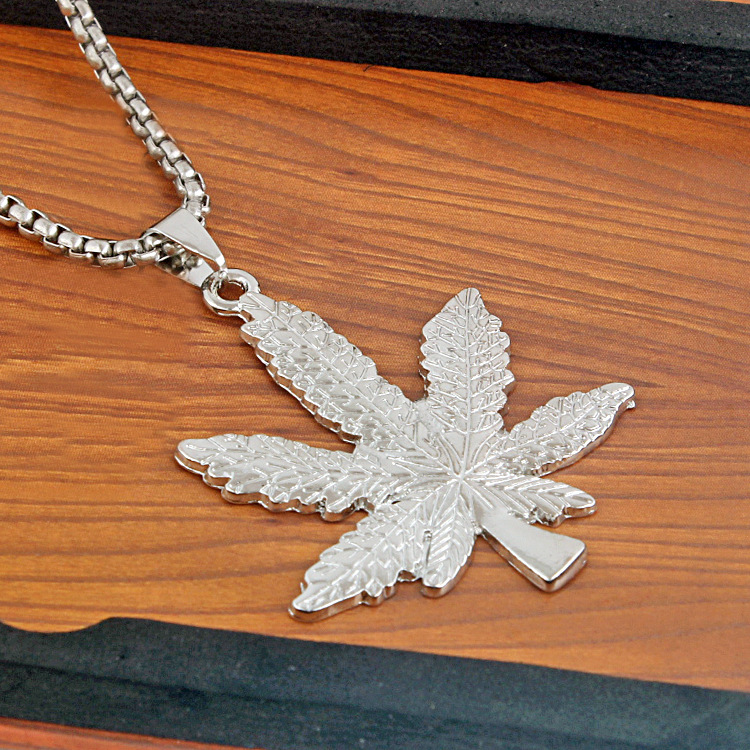 Maple Leaf Necklaces & Pendants Gold Silver Slide Boho <font><b>Cannabiss</b></font> Weed Herb Charm Necklace Hip Hop Tropical Men <font><b>Plant</b></font> Jewelry image