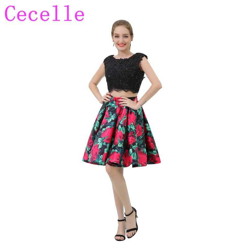 6c297ccd4b9 2 Pieces Colorful Short Cocktail Dress With Beaded Lace Top Sexy Open Back  Floral Print Satin Skirt Teens Informal Party Dress