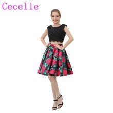47de893b72 2 sztuk kolorowe krótka sukienka koktajlowa z koralikami koronki Top Sexy  otwórz wróć kwiatowy Print satynowa spódnica nastolatk.