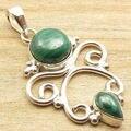 MALACHITE 2 Cab Semi Precious Stone Pendant !  Silver Plated UNISEX Jewelry