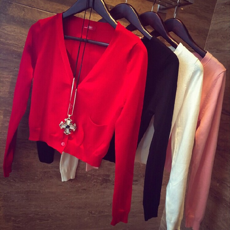 9 Candy Colors Autumn Spring Women V-Neck Knitted Casual Short Sweaters Cardigans Lady Knitting Short Outwear