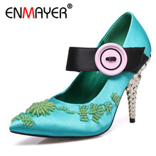 ENMAYER Stain High Heels Pumps Shoes Woman Hook Mary Janes Plus Size 34-43 Office Ladies Shoe Black Green Pink Blue Pumps Shoes doratasia 2018 large size 30 47 candy colors square heels mary janes women shoes woman pumps date girls pumps shoes