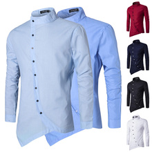 Zogaa Hot Sale Casual Men Shirt Irregular Silm Fit Long Sleeve Blouse Embroidery Camisa Masculina