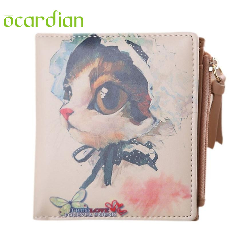 цены  Hot Women Vintage Cat Coin Clip Purse Short Wallet Clutch Handbag WH 17Mar17