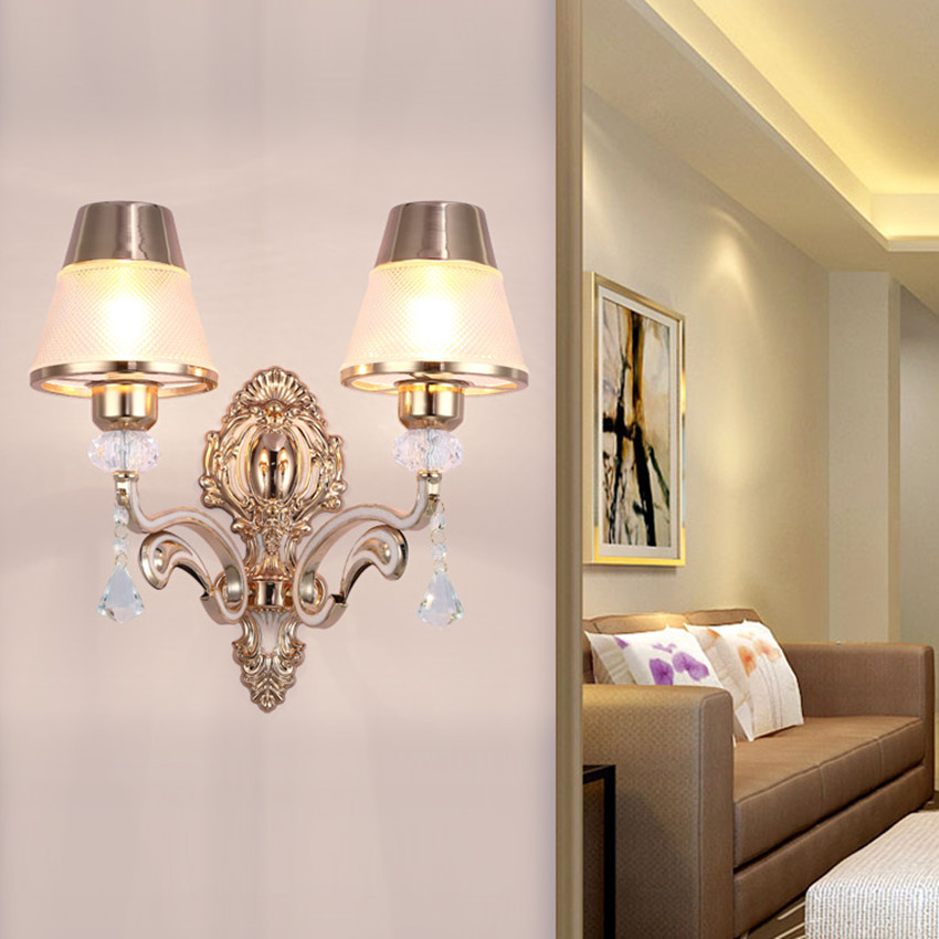 wall tv background decoration living bedroom sofa led lights lamps european crystal clear gold