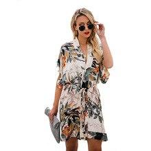 ARiby 2019 Fashion Spring New Women Dress Office Lady Printed V-Collar Straight Short Sleeve Sashes Mini V-Neck