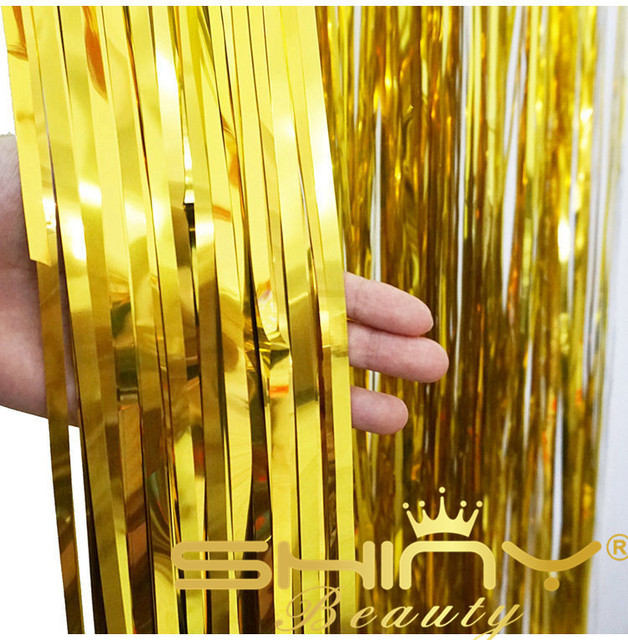 metallic fringe door decoration party curtains curtain set shiny window gold com amazon dp foil of