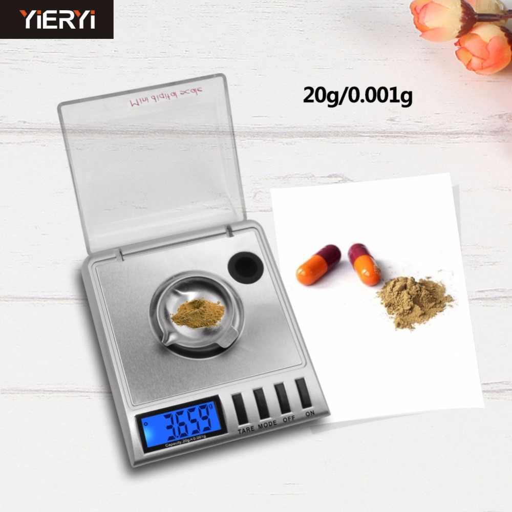 Yieyri Новинка 0,001-20 г x 20 г Мини цифровые карманные ювелирные Алмазные Весы цифровые электронные портативные весы