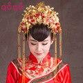 Старинные Китайский Стиль Классический Ювелирные Изделия Традиционных Позолота Свадебный Головной Убор Свадебные Аксессуары Для Волос Корона Головные Уборы