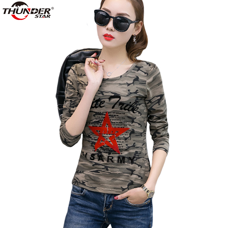 Womens Camouflage Army Green T-shirt Long Sleeve O-neck Tops tee Shirt Casual Stretchy Military t shirt Women Cotton HX6