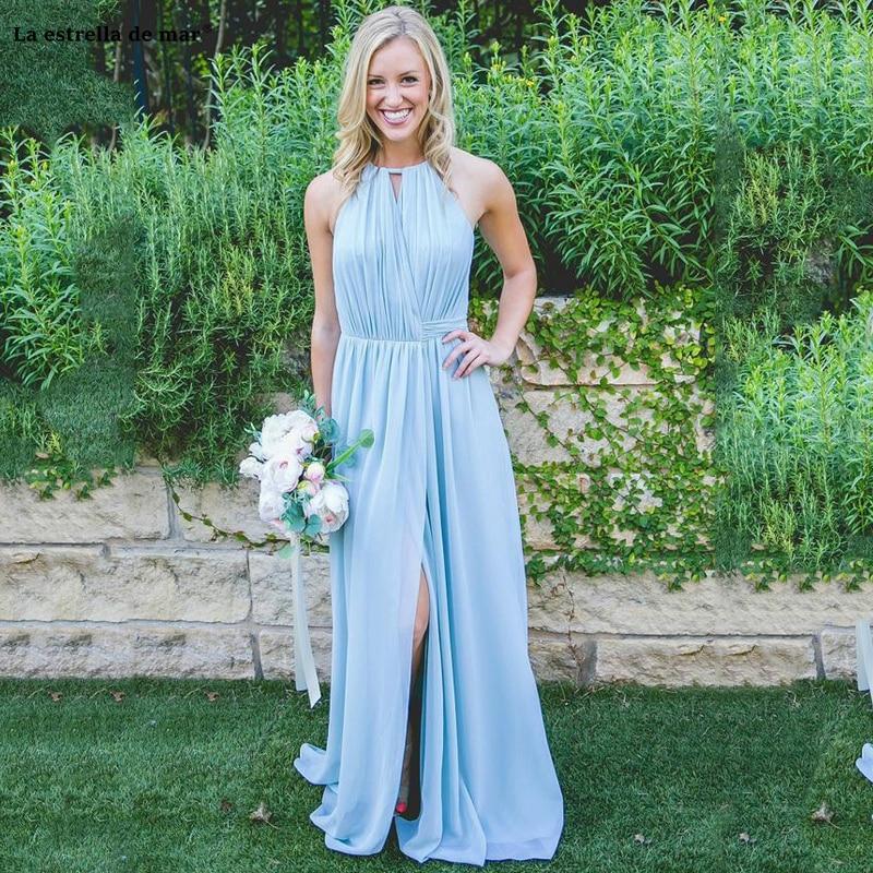 Custom Made Blue Chiffon   Bridesmaid     Dresses   Halter Front Side Slit Beach Country Style vestido dama de honor boda