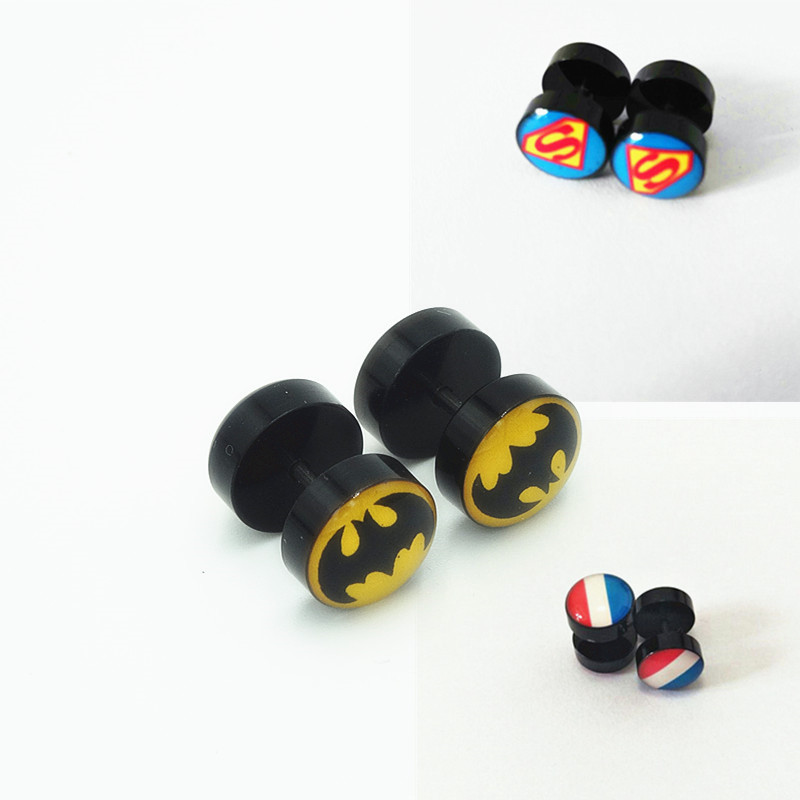 Fashion Men Women Acrylic Barbell Earrings Double Batman Super Man Flag Charms Black Barbell Stud Earrings Brincos Jewelry