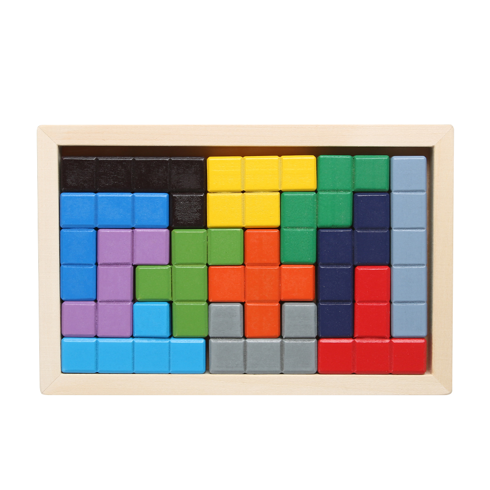 Wooden Tetris Game Board Kids Child Developmental Environmental Protection Water-based Paint Jigsaw Puzzle Toy