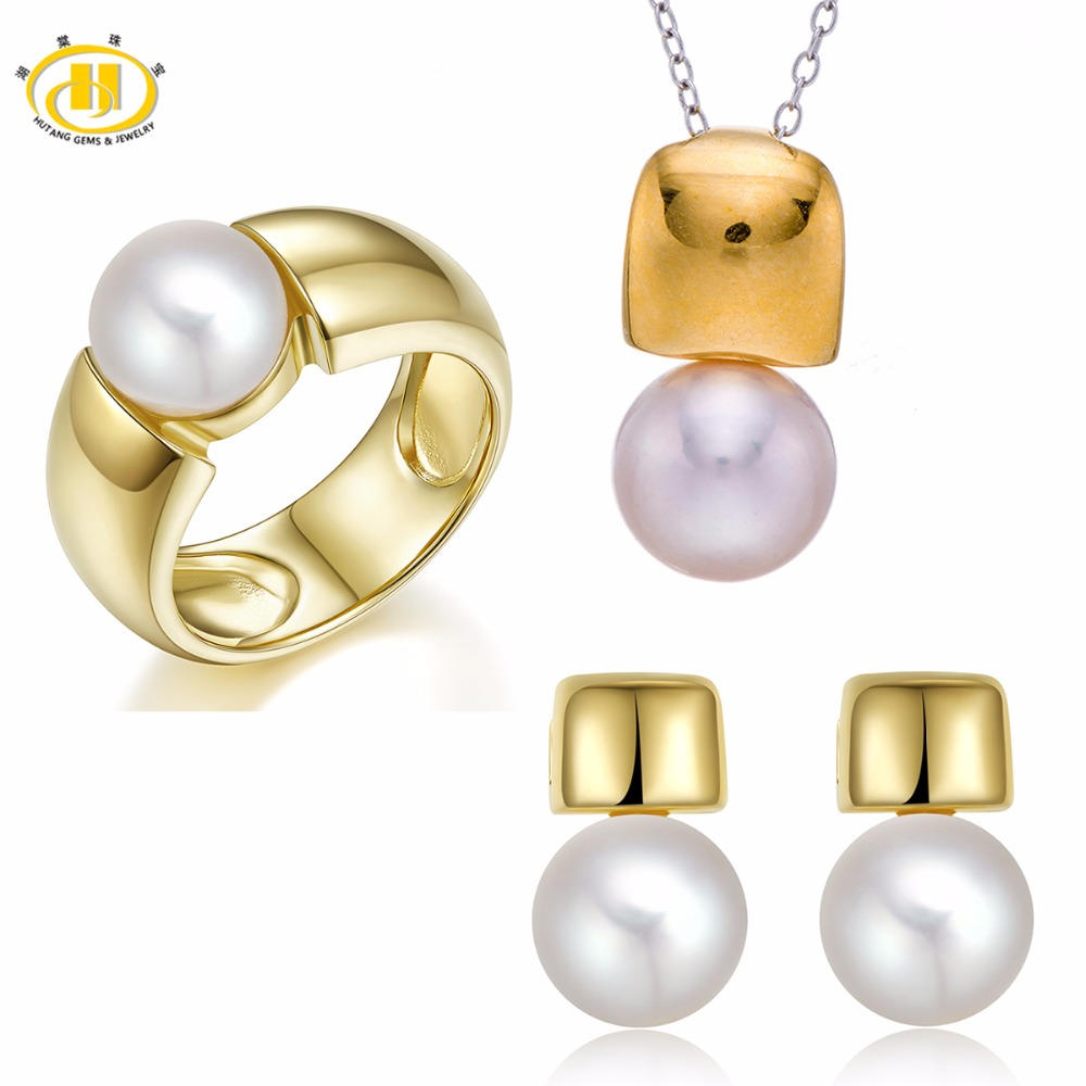 Hutang 925 Sterling Silver Natural Fresh Water Pearl Bridal Jewelry Sets Ring & Earrings & Pendant Fine Jewelry For Women's Gift