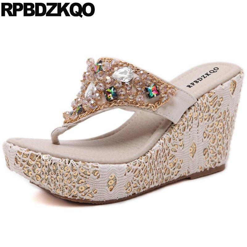 c775bab462a01 Women Female Shoes Diamond Flip Flop Rhinestone Crystal Slides Lace Chain  Pumps Jewel Wedge Sandals High Heels Platform Slippers