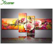 5D Diamond Embroidery DIY Diamond Painting Cross Stitch Full Rhinestone Needlework Mosaic Wall Decorative orchid 4pcs/set VS388