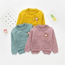 WYNNE GADIS Autumn Baby Girls Solid Pockets Back Split Long Sleeve O Neck Knitwear Pullover Sweater Kids Causal Jumper Clothes