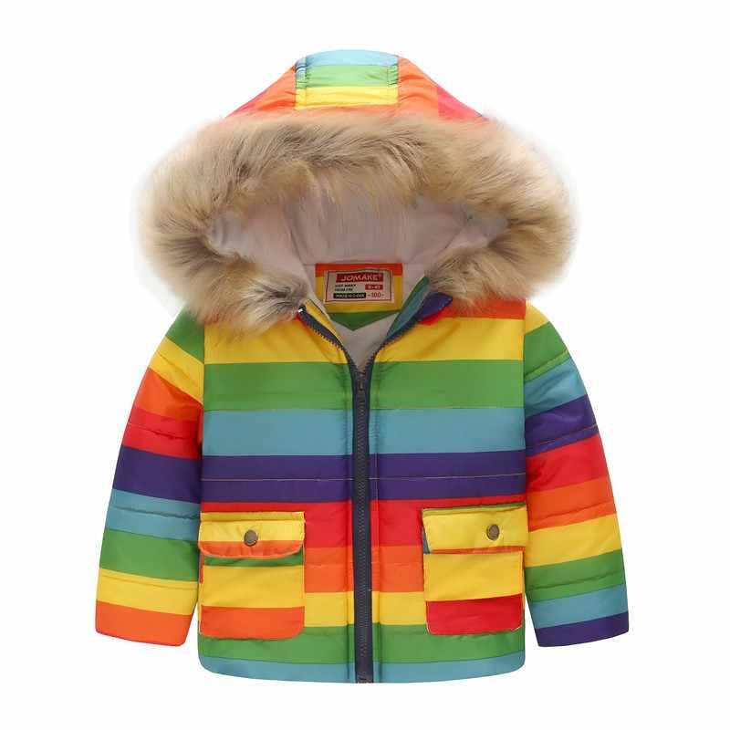 COOTELILI Cute Dinosaur Kids Boys Winter Jacket Cotton Fleece Fur Hooded Parka Baby Boys Coat Outerwear For Children 90-130cm